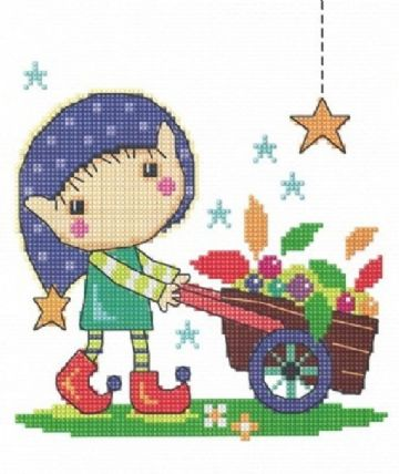 Gardening Elf Cross Stitch Kit by The Stitching Shed